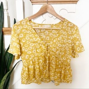 Altar'd State button detail yellow floral blouse S
